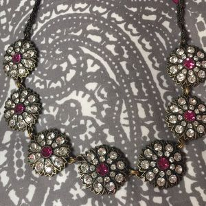 Jewelry - Sequin NYC Pink and White Crystal Flower Necklace